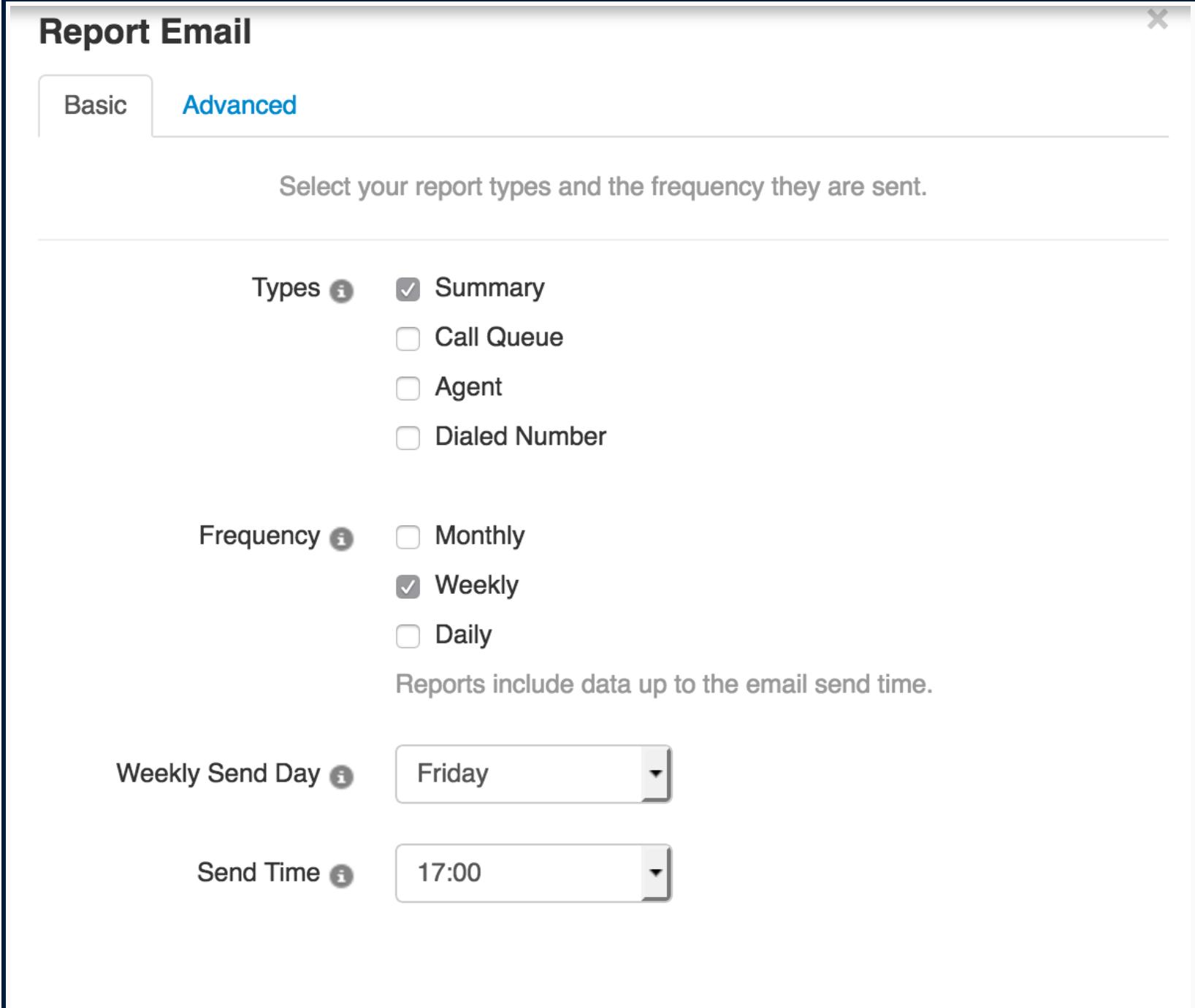 Call center report emails